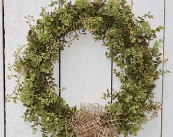 Eucalyptus Wreath - Succulent Wreath - Year Round Wreath - Spring Wreath - Housewarming Gift - Rustic Wreath - Farmhouse Wreath - Realtor