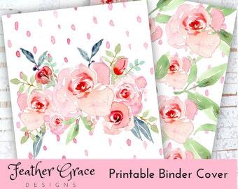 Binder Cover   Printable Binder Cover SET   Pink Roses   Binder Cover   U.S. Letter Binder   Instant Download   Printables