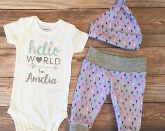 Hello World Lavender Sparkle, Coming Home Outfit, Going Home outfit, Hello World Name, Personalized Onesie, Custom Bodysuit,Baby girl outfit