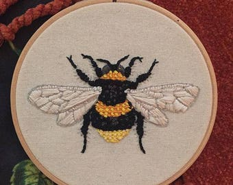 Bumble Bee Embroidery Hoop Art