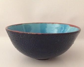 Red rimmed Blue Ceramic Bowl
