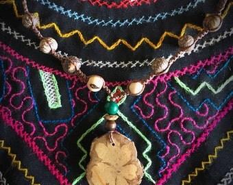 Talisman: Shipibo Ayahuasa Necklace with Huasaii, Serpentine Stone and Rosewood.