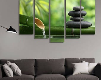 LARGE XL Spa Still Life Canvas with bamboo fountain Canvas Print Zen Stones Canvas Wall Art Print Home Decoration - Framed and Stretched