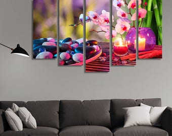 LARGE XL Spa Relaxation Orchids Canvas Print Zen Ambiance Canvas Purple Colors Canvas Wall Art Print Home Decoration - Framed and Stretched