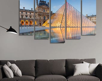 LARGE XL The Louvre Museum in Paris, France Canvas Print a Large Museum, Central Landmark Canvas Wall Art Print Home Decoration - Stretched