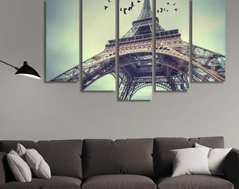 LARGE XL Eiffel Tower, Paris Canvas Print Architecture of France Canvas Seen From the Ground Wall Art Print Home Decoration - Stretched