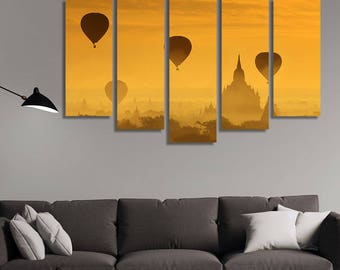 LARGE XL Balloons over the Pagoda Temples of Bagan in Myanmar Canvas Print Fog Sunrise Canvas Wall Art Print Home Decoration - Stretched