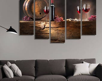 LARGE XL Winery Canvas, Wine Bottle, Glasses with Wine Canvas Wall Art Print Home Decoration - STRETCHED