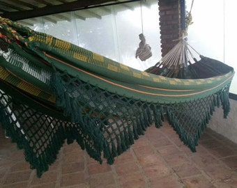 Green cotton hammock, with hand made Bell Fringe, patio decoration, double hammock