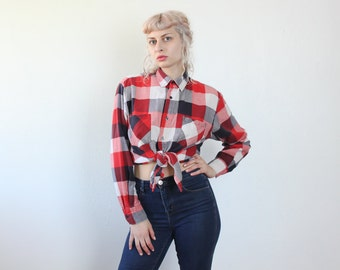 90s Flannel Shirt // Vintage Plaid Button Up Red White Blue Mens Womens - Medium to Extra Large xl