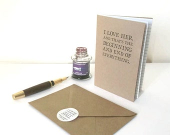 Love Letter Journal, Romantic Notebook | Fitzgerald Quotation | Literary Bookish Paper Anniversary Gift for Wife | Lined Kraft Writing Book