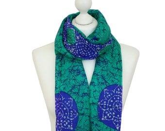 Silk Scarf / Aquamarine Batik Silk Scarf / Green Scarf / Spring Summer Silk Scarf / Ladies Silk Scarves / Gifts for Her / Accessories