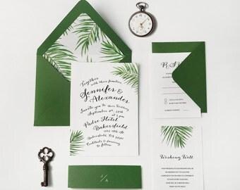 21. Sample-palm tree invite,greenery invitation,botanical wedding,foliage invitation,palm leaf invite,tropical wedding,beach invitation