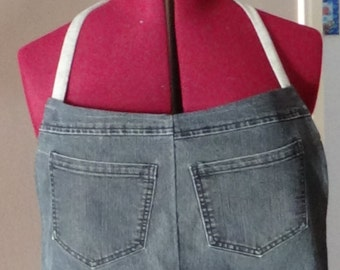 Women's recycled jeans apron