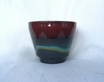 Gorgeous vintage fat lava Flowerpot with red blue Brown green and black
