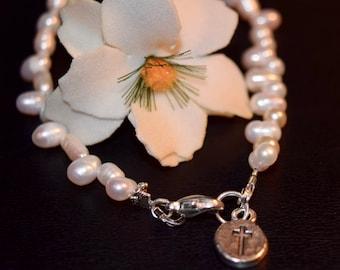 Communion Bracelet ~ Dainty Pearl Bracelet~ Confirmation Bracelet~