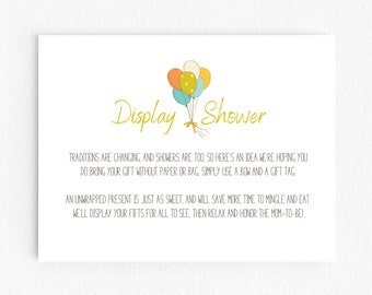 Baby Shower Display Shower Invitation Inserts - Scooter Balloons - Neutral - Printable