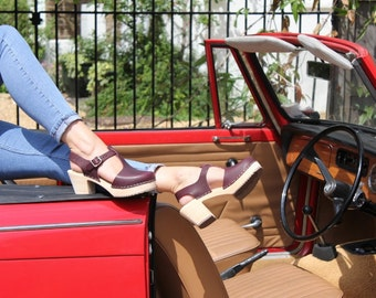 Swedish Clogs Highwood T-Bar Aubergine Leather by Lotta from Stockholm / Wooden Clogs / Sandals / High Heel / Mary Jane Shoes