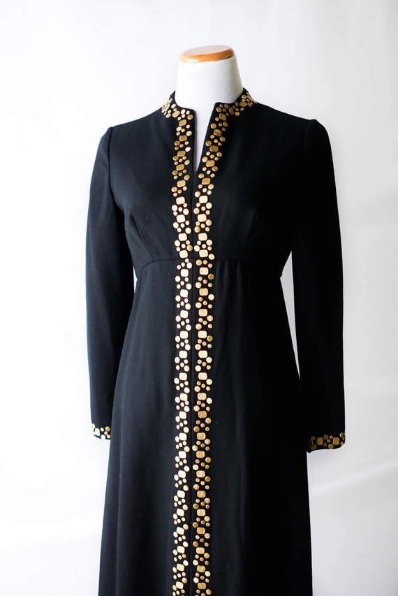 60s Black and Gold Dress / Vintage Black Dress with Gold Detail 1960s / Vintage Formal Dress / Women's Clothing / Vintage Clothing