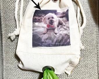 "Custom Photo dog waste carrier or dog treat bag  5"" X 8"""