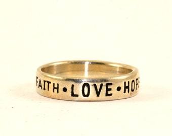 Vintage Faith Love Hope Cor 13:13 Engraved Band Ring 925 Sterling Silver RG 1259