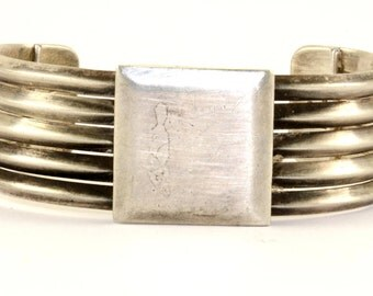 Vintage Graphic Modern Style Cuff Bracelet 925 Sterling Silver BR 1145-E