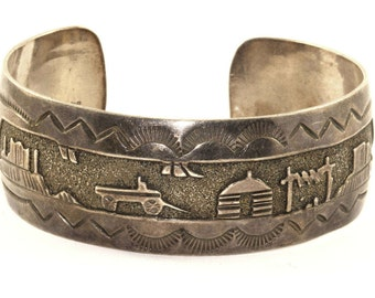 Vintage Native American Country Style Bracelet 925 Sterling Silver BR 1182-E