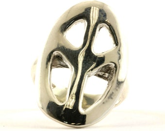 Vintage Peace Sign Oval Shape Ring 925 Sterling Silver RG 747-E