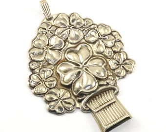 Vintage Reed & Barton Flower Basket Good Luck Whistle Pendant 925 Sterling Silver PD 92 - E