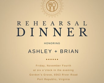 Custom Designed Rehearsal Dinner Invitation
