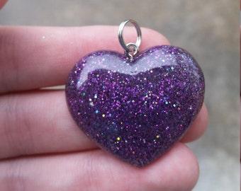 Purple and Black Glitter Pendent