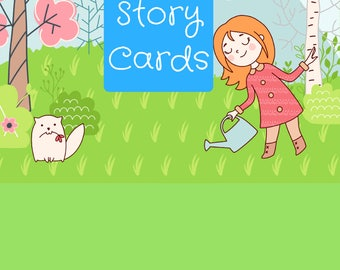 Story Cards Printable PDF, Set of 30, Story Prompts, Storytelling Cards, Girls Story Cards, Springtime Adventures, Downloadable, Homeschool