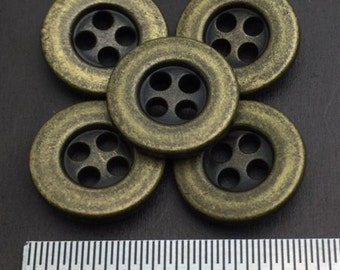 "4 hole Metal Center Concave Vintage Sew On Button, Antique Brass, 25 Pcs, 19L(Diameter 12mm, 0.47"")"