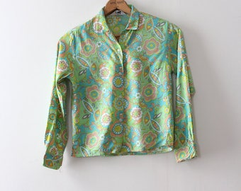 vintage 1960s blouse // 60s green floral button up top