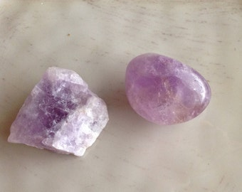 Set of 2 Amethyst Crystals - Tumbled Amethyst and Rough/Natural Amethyst