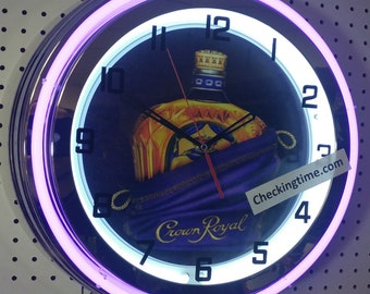 "Crown Royal Canadian Whiskey 19"" Retro Double Tube Neon Clock FREE SHIPPING By: Checkingtime.com"