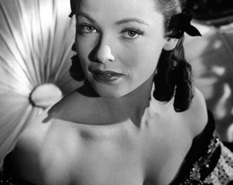 """Gene Tierney Monochrome Photographic Print 05 (A4 Size - 210mm x 297mm - 8.25"""" x 11.75"""") Ideal For Framing"""