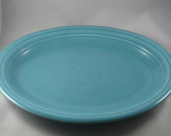 Vintage Turquoise Fiestaware platter 1950s wetfoot