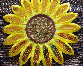 Sunflower embroidery and sequinned Iron on Patch