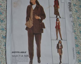 McCalls 8905 Misses Unlined Jacket Vest Pull on Pants and Skirt in Two Lengths Sewing Pattern - UNCUT - Size 10 12 14