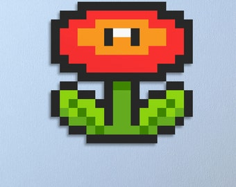 Super Mario Brothers Fire Flower Wall Art, Nursery Decor, Geek Gift, Geek, Video Game Art, Home Decor,Birthday