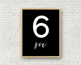 Number Six // Simple 6 Printable // Individual Numbers Wall Art Print // 8x10 // Digital Print File // Numerology Gift // Black and White