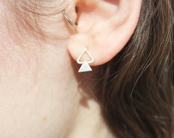 Double triangle earrings silver
