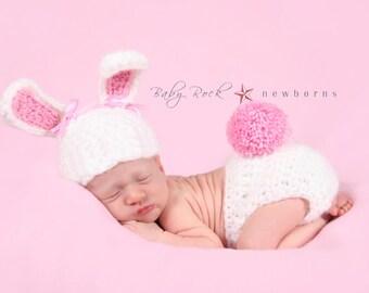 Newborn Bunny Photo Prop, crochet bunny hat, newborn photo prop, baby girl clothes, coming home outfit, newborn boy hat-Newborn Easter Prop
