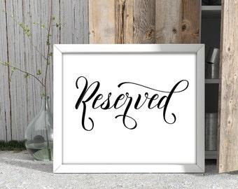 Reserved Sign Printable, Instant Download Calligraphy Wedding Sign Printable, Wedding Decor Cards, Wedding Table Decor Sign JSP27