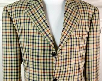 Italian Vintage Plaid Blazer, Camel-Color Jacket w Navy Green Red Plaid, Cerruti Wool Sport Coat, 1980s Plaid Blazer: Size  44 (US/UK)
