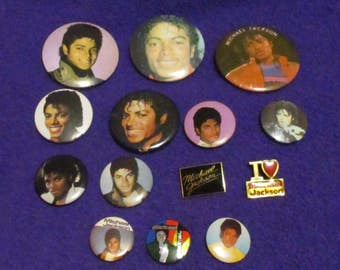 14 Vintage Michael Jackson Pins King of POP Buttons Thriller