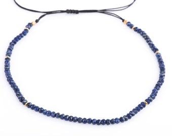 Lapis Lazuli Choker or Necklace, Gemstone Choker, Adjustable Necklace, Gemstone Rondelle,Sliding Knot,Beaded Necklace, Semiprecious Gemstone