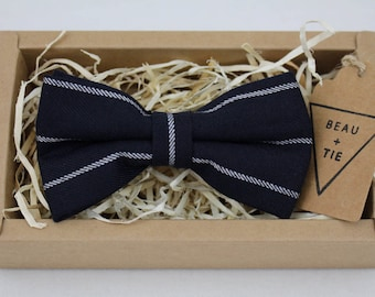 Men's Blue + White Striped Cotton Wool Blend Bow Tie