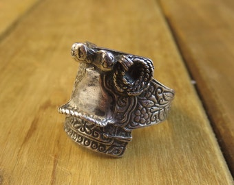 Vintage Sterling Silver Saddle Ring Size 10